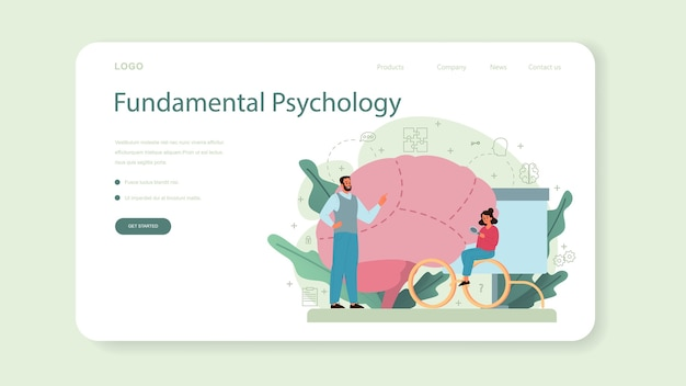 Psychology web template or landing page.