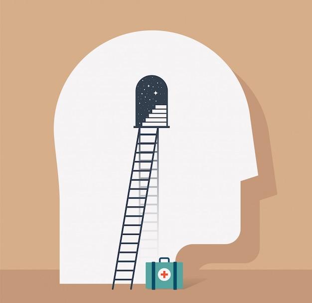 어두운 별이 빛나는 배경에 계단 및 그것과 응급 처치 키트에 기댈 된 사다리와 출입구와 인간의 머리 프로필 심리 치료 추상적 인 개념. 정신 건강 도움 개념입니다. 삽화