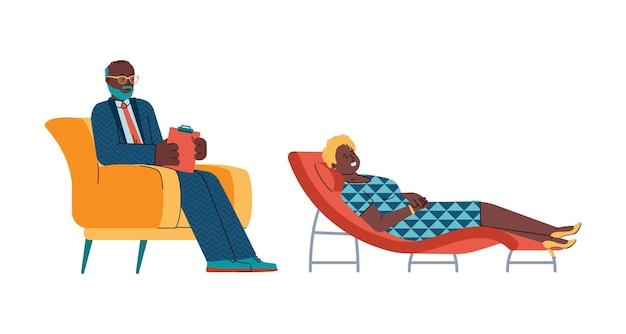 고립 된 흑인 만화 벡터 일러스트와 함께 심리 치료 상담
