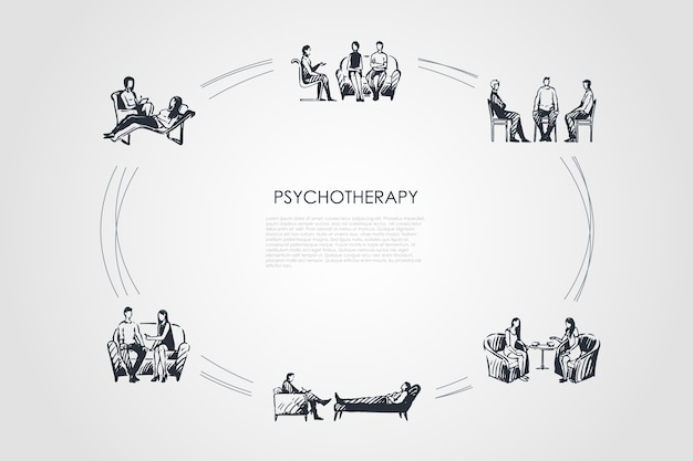 Psychotherapy hand drawn cicle