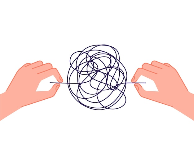 Psychotherapy help. mind chaos metaphor, hand unravel tangled wires. psychology problems treatment, mental depressive disorder vector concept. illustration metaphor solution and solving chaos