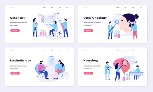 Psychotherapy and neurology web banner concept. idea of medical treatment in hospital.   illustration
