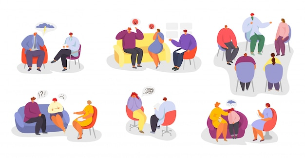Psychotherapy, people at psychologist doctor consultation  illustration set.