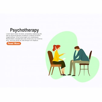 Psychotherapy practice, psychiatrist consulting patient. mental disorder treatment. vector illustration