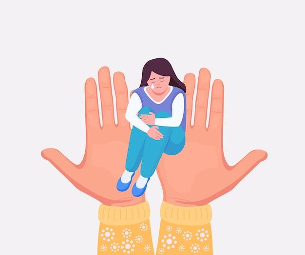 심리 치료, 심리적 지원. 불행한 소녀는 앉아서 외로움을 느끼며 무릎을 껴안습니다. 심리 치료사 손에 앉아 슬픈 우울된 여자입니다. 정신 건강. 스트레스로부터 도움과 치료를 받는 사람