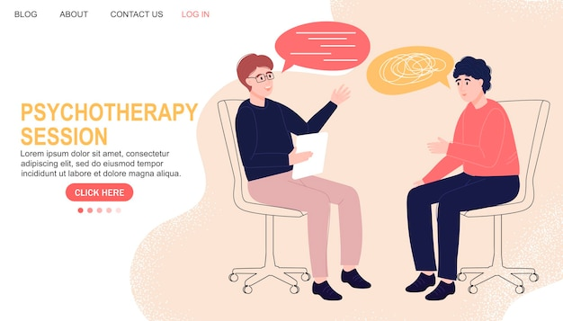 Psychotherapy session. mental health. landing page. psychologist with a patient. talk.