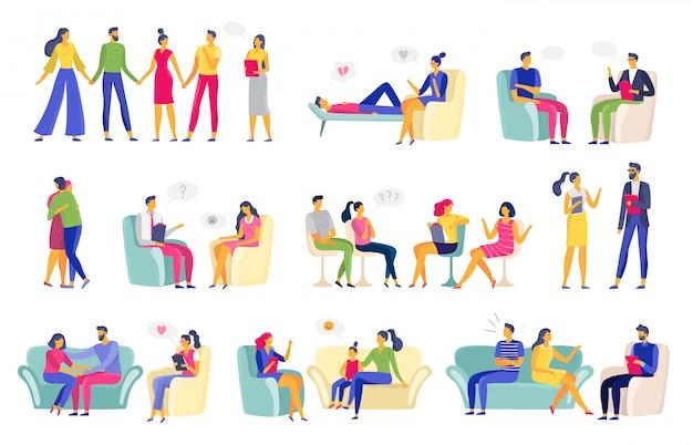 Psychotherapy session. psychologic therapy, family psychologist and psychotherapist sessions vector illustration set
