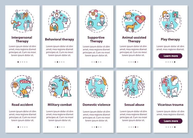 心理療法の種類とptsdにより、コンセプトが設定されたモバイルアプリのページ画面がオンボーディングされます