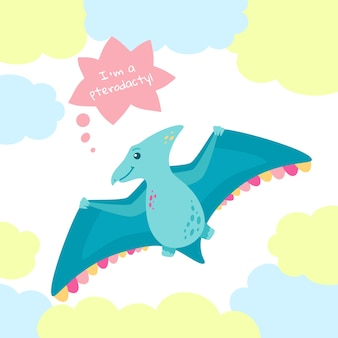 Pterodactyl dinosaur with speech bubble