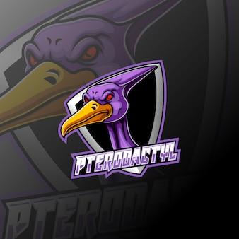 Pterodactyl e sport логотип дизайн талисмана