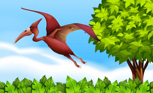 A pterodactyl flying