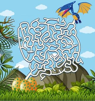 Pterosaurs卵を見つける迷路パズルゲーム