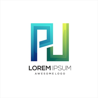 Pu letter logo initial colorful illustration gradient
