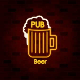 Pub beer on neon sign on brick wall