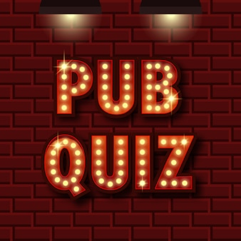 Pub quiz announcement poster. trivia light
