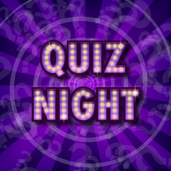 Pub quiz announcement poster vintage styled light bulb box letters shining on dark background