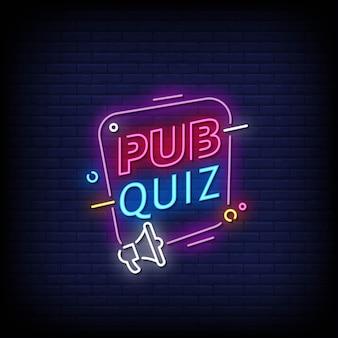 Pub quiz neon signs style text