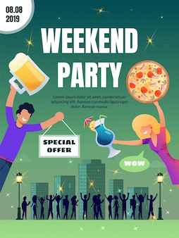 Pub special offer on food and drink vector poster
