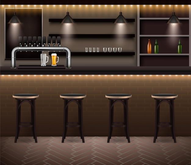Модный интерьер паба с рядом барных стульев возле стойки с реалистичным краном для разливного пива