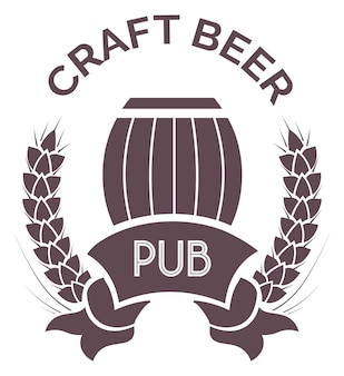 크래프트 맥주 포장용 크래프트 맥주 엠블럼, 실루엣 라벨 또는 로고타입이 있는 펍. 주류, 나무통, 밀화환의 생산 및 판매. 평면 스타일 그림에서 벡터