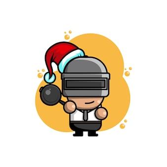 Pub 크리스마스 귀여운 캐릭터 로고