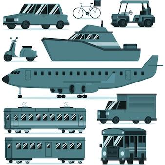 Пакет иллюстраций общественного и частного транспорта