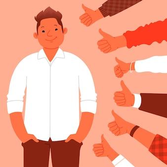 대중의 승인, 칭찬. 행복 한 남자는 클래스 제스처를 보여주는 손의 배경에 서 있다. 훌륭한 일과 지역 사회의 존경. 평면 스타일의 벡터 일러스트 레이 션