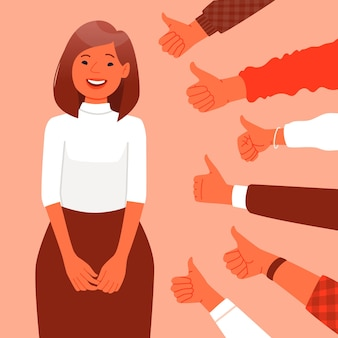 대중의 승인, 칭찬. 행복 한 여자는 클래스 제스처를 보여주는 손의 배경에 서 있다. 커뮤니티의 성공과 존경. 평면 스타일의 벡터 일러스트 레이 션