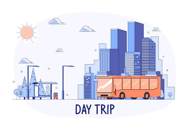 공공 버스는 도시에서 숲이나 공원까지 여행합니다 - 당일 여행 개념. 평면 스타일 벡터 일러스트 레이 션.