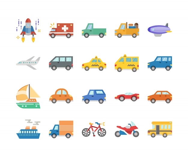 Public car and transports flat design