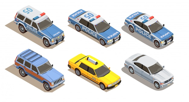 Public city transport isometric composition with set of six cars with three kinds of car bodies