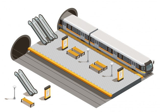 Public city transport isometric composition with underground metro station escalators and benches with underground rolling stock