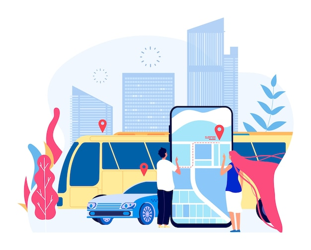 Public city transport. people and urban bus vehicle taxi with cityscape and map mobile app. tourism and transportation