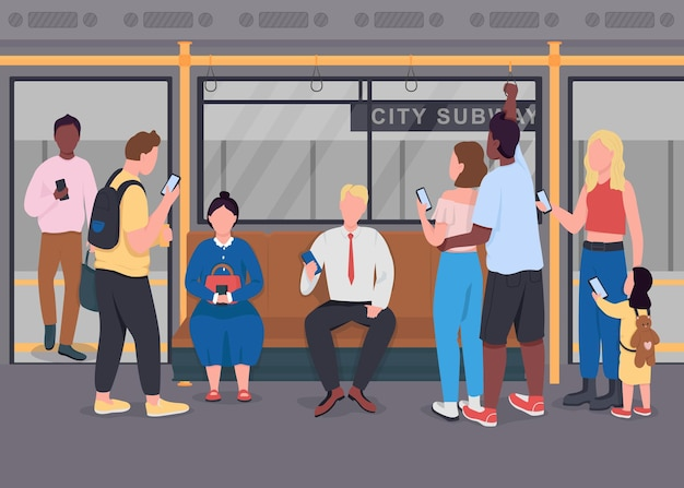 Public commuting flat. people on mobile phones. men and women communicating.