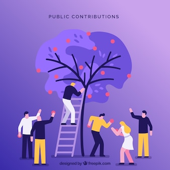 Public contributions concept background