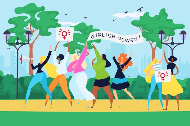 Public demonstration woman group together slogan girl power, feminism movement equality right flat vector illustration, street urban meeting. woman procession with banner girlish force.