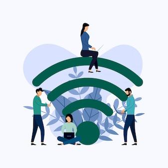 Общественный бесплатный wi-fi зона беспроводной точки доступа, бизнес-концепция векторная иллюстрация Premium векторы