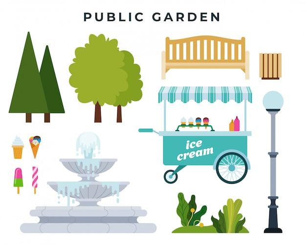 公共の庭または公園建設業者。さまざまな公園の要素のセット:木、茂み、ベンチ、噴水および他のオブジェクト。ベクトルイラスト