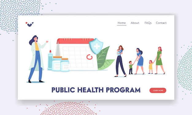Public health program landing page template. vaccine, immunization schedule. tiny characters wait for vaccination at huge calendar with rounded date. doctor invite people. cartoon vector illustration
