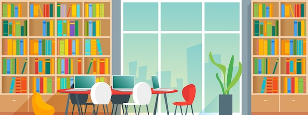 Public or home library interior with bookshelves and desks with chair. cartoon style  illustration