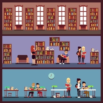 Public library banners concept with different students reading books. library university with bookcase, school and bookshelf with literature illustration