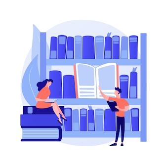 Посетители публичной библиотеки. научные исследования, самообучение, образовательный центр. люди ищут книги на полках библиотек, читают учебники. векторная иллюстрация изолированных концепции метафоры