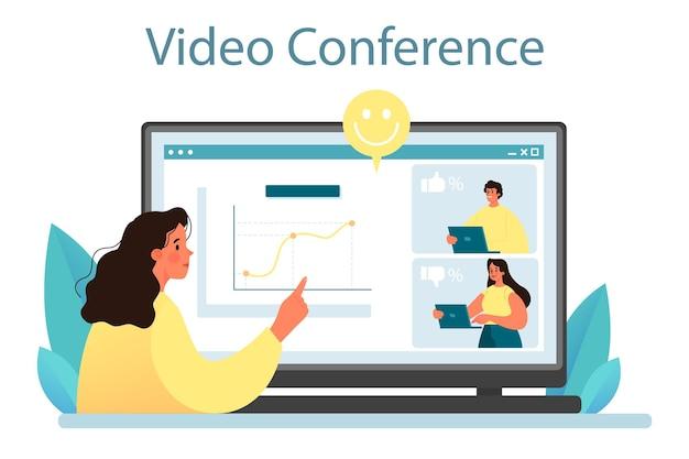 世論のオンラインサービスまたはプラットフォーム。あなたのブランドを宣伝するためのマスメディアを通じたprのアイデア。ビデオ会議。フラットベクトル図
