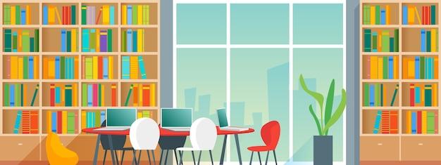 책장과 의자가있는 책상이있는 공공 또는 가정 도서관 인테리어. 만화 스타일 일러스트