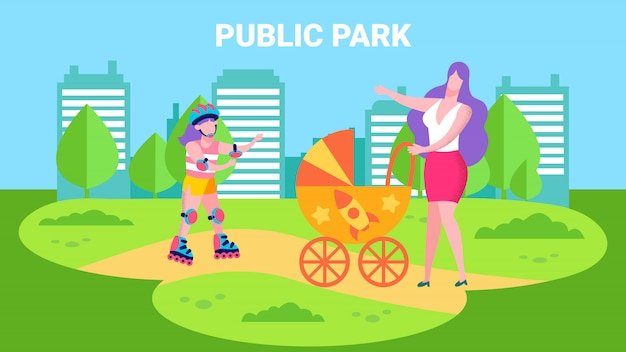 Public park advertisement banner in cartoon style