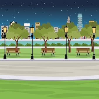 공공 공원 벤치 게시물 빛 강 도시보기 밤 프리미엄 벡터