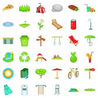 Public park icons set, cartoon style