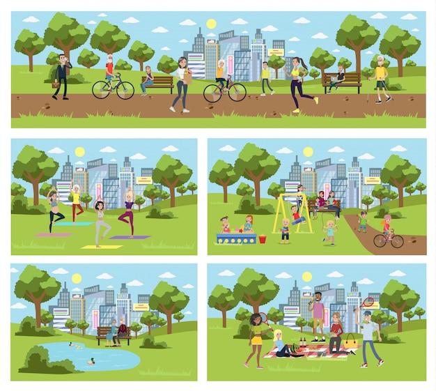 Общественный парк в городе с людьми, занимающимися спортом, отдыхом и игрой.