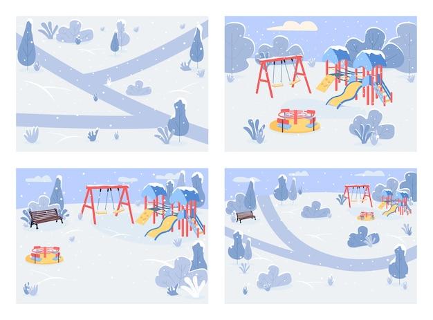 Общественный парк в зимнее время плоский цветной набор