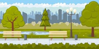 Public park with asphalt path illustration